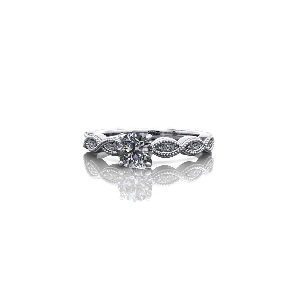 claw set diamond ring, milgrain