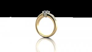 Claw set diamond ring, split shank