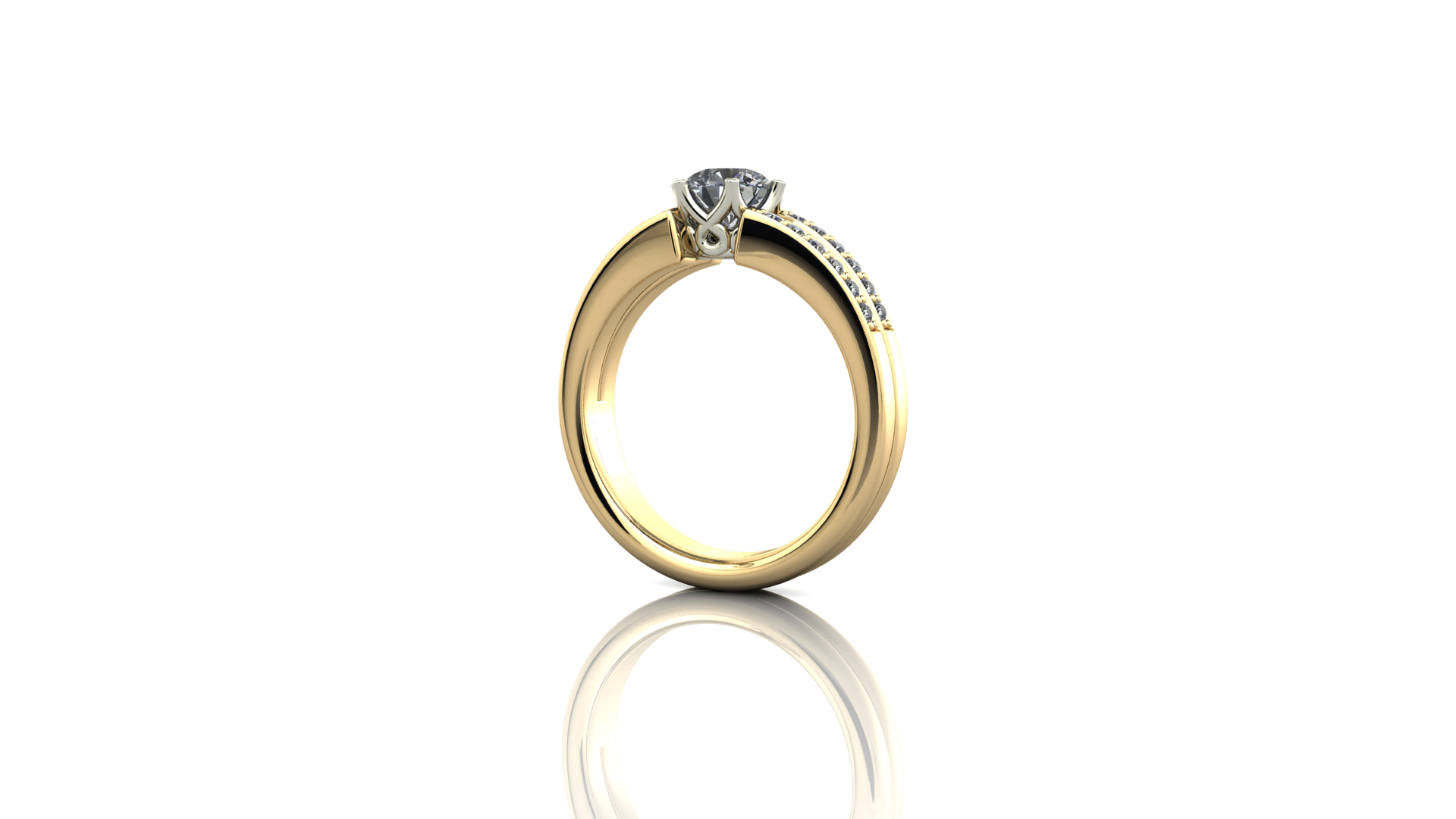 Claw set diamond ring, split shank