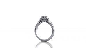 Diamond cluster ring with scroll engraving