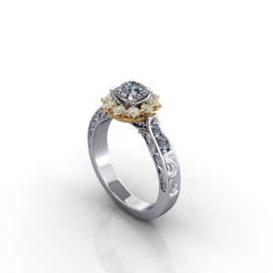 engraved ring yellow diamonds