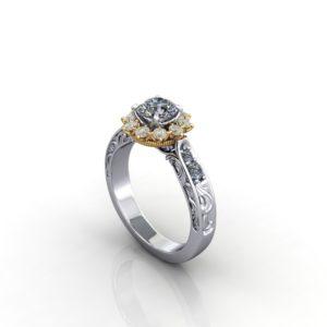 engraved ring yellow diamonds