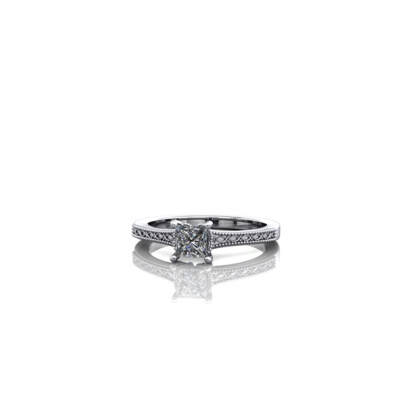 Claw Set Princess Cut Diamond with Engraved Shank